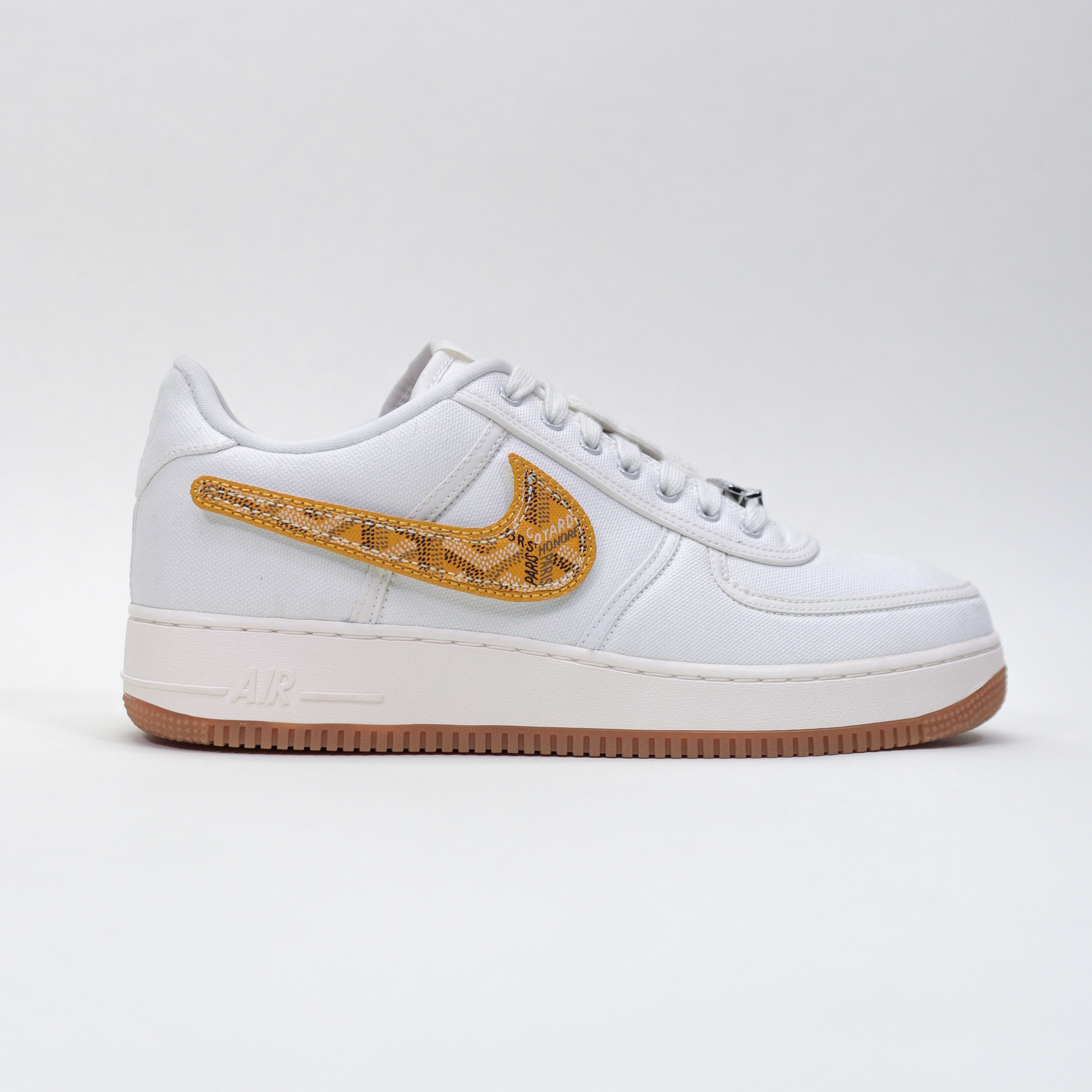 Yellow GOYARD TRAVIS SCOTT AF1 Velcro Swoosh
