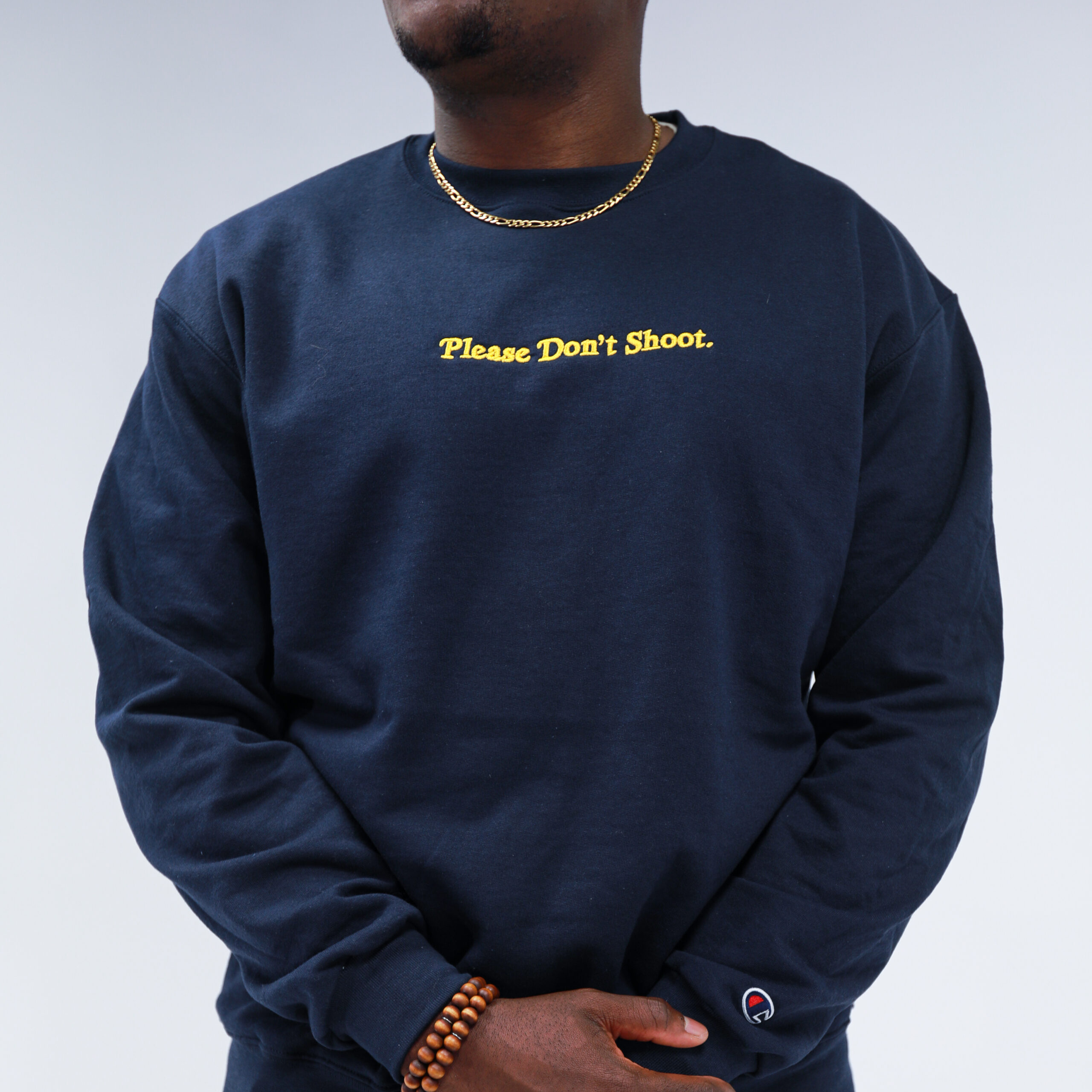 Please Don't Shoot Navy Crew Neck (Pre-Order)
